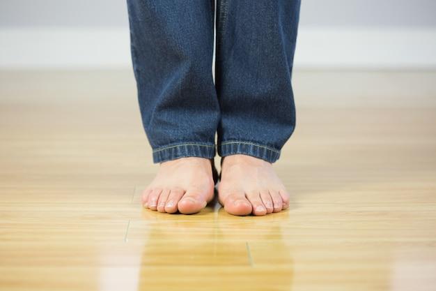Cima, de, nu, macho, pés