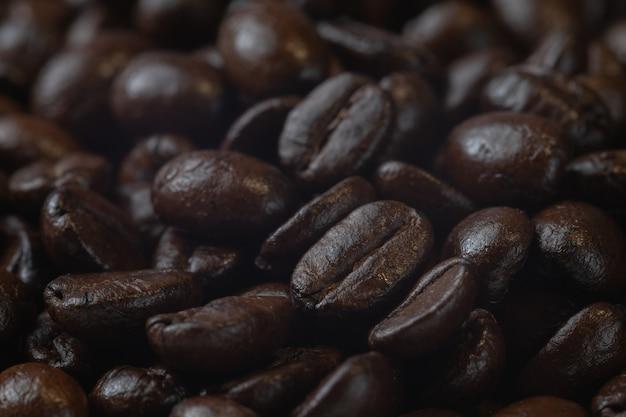 Cima, de, pilha, assado, feijões café, ligado, tábua madeira