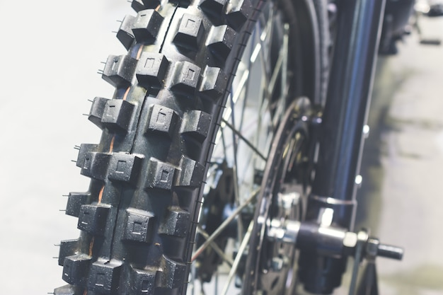 Cima, de, roda motocicleta, foco, pneu