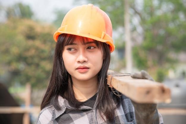 Cima, de, trabalhador construção, em, local construção