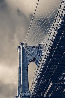 Cima, detalhe, vista, em, ponte brooklyn, nova iorque,
