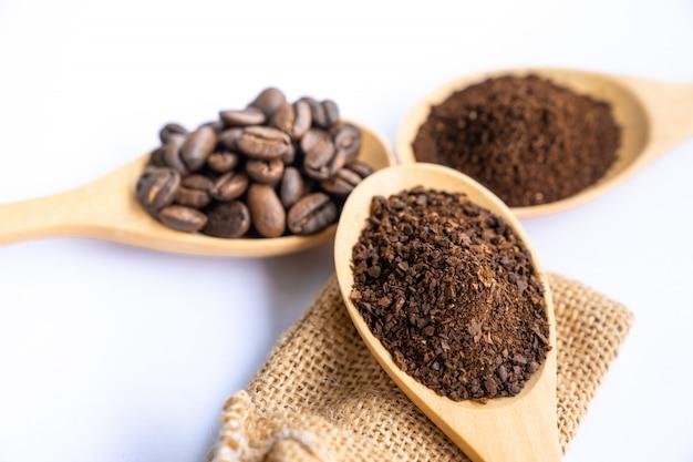 Cima, esmagado, feijões café, ligado, colher madeira
