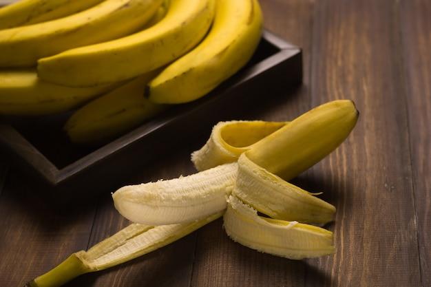 Cima, fruta banana, madeira, fundo