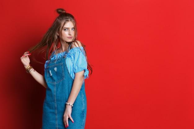 Cima, moda, retrato mulher