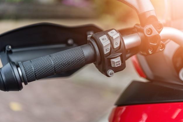 Cima, motocicleta, buzina, botão, e, handlebar
