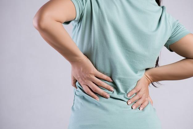 Cima, mulher, tendo, dor, em, ferido, costas