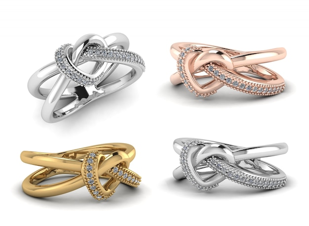Cima, prata, ouro, rosa, anel ouro, com, diamantes, 3d, render, isolado, branco, fundo