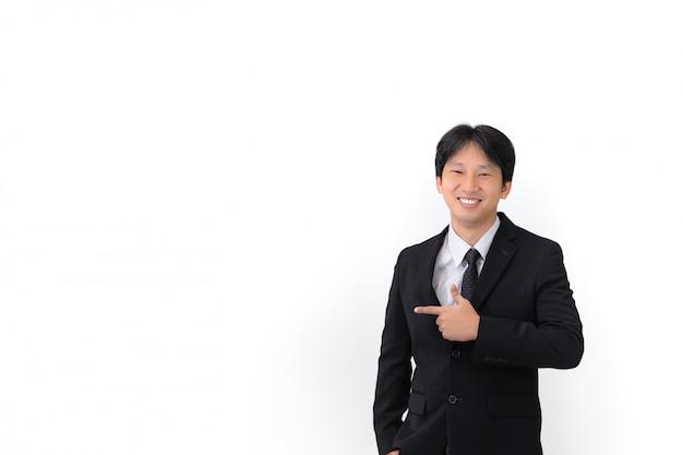 Cima, retrato, de, asiático, jovem, bonito, homem negócios, desgastar, paleto, com, laço