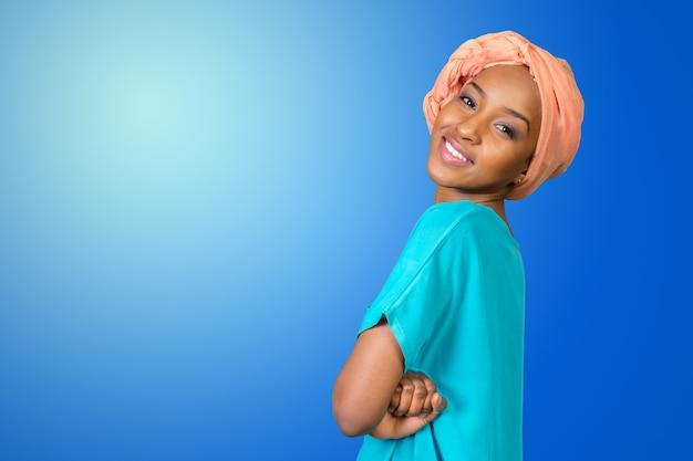 Cima, retrato, de, mulher americana africana