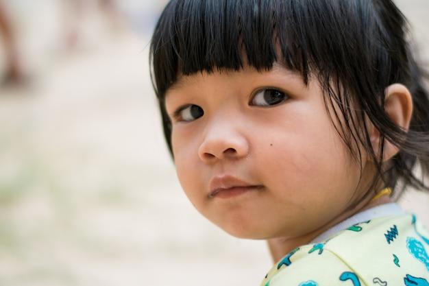 Cima, sorrir, criança asiática, menina, rosto