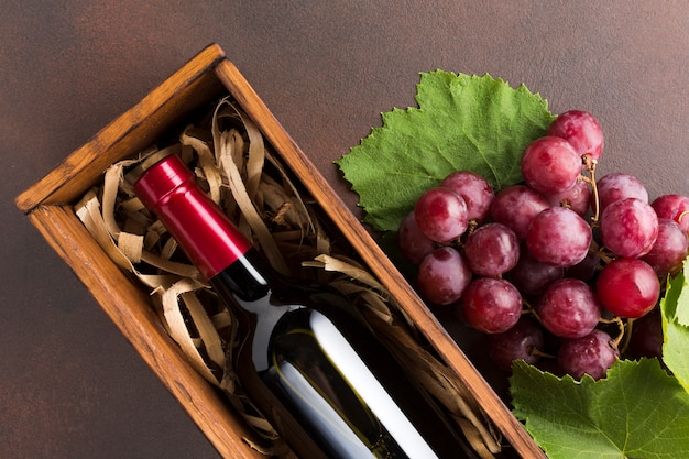 Cima, uvas vermelhas, e, vinho