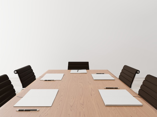 Cima, vazio, reunião, sala, com, cadeiras, tabela madeira, caderno, parede concreta