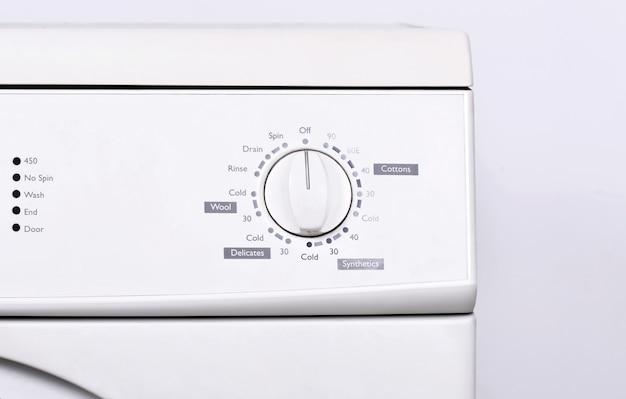Cima, vista, de, painel instrumento, ligado, lavadora roupa