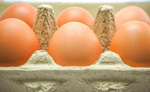 Cima, vista, fresco, cru, galinha, ovos, em, marrom, caixa caixa, comprado, de, a, mercado, mart, su