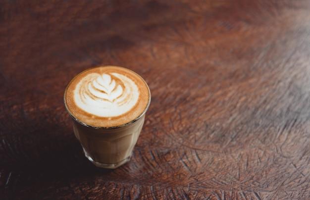 Cima, xícara café, com, latte, arte, ligado, grunge, madeira, tabela