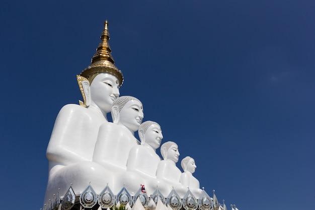 Cinco, buddha, estátua, (wat, phra, que, pha, sorn, kaew), phetchabun, tailandia