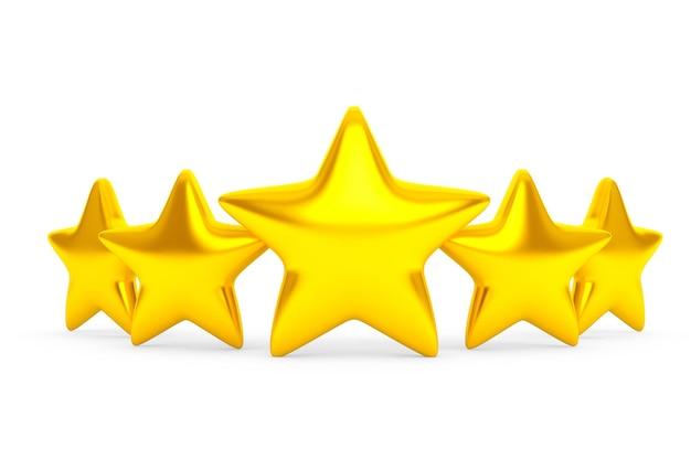 Cinco estrelas douradas em um fundo branco