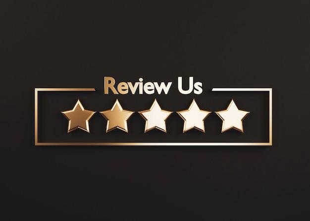 Cinco estrelas douradas sobre fundo preto para a melhor avaliação do cliente para a utilização do conceito de produto e serviço por renderização em 3d.