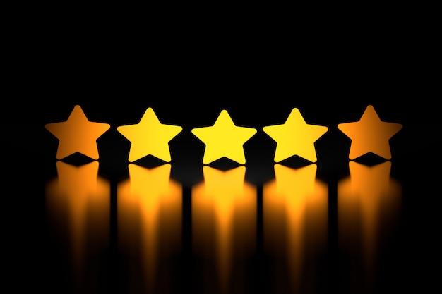 Cinco estrelas douradas sobre superfície reflexiva brilhante em preto
