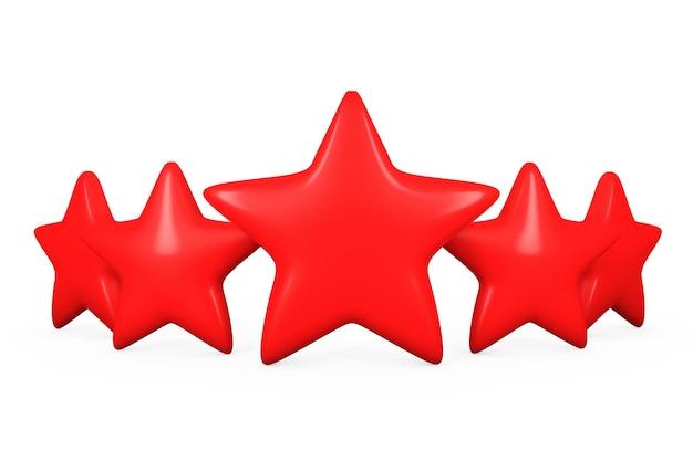 Cinco estrelas vermelhas em um fundo branco