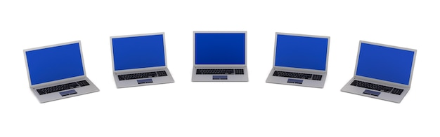 Cinco laptops. renderização 3d isolada