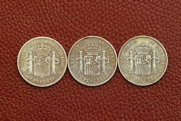 Cinco pesetas espanha moedas antigas alfonso xii carlos iii