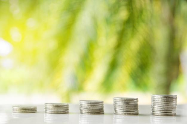 Cinco pilhas de moedas tailandesas no fundo da planta