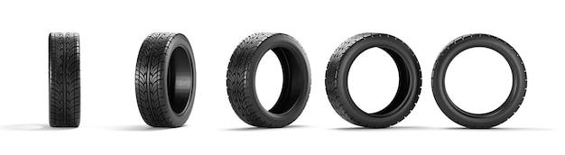 Cinco pneus de carro em um branco idolatrado. renderização 3d