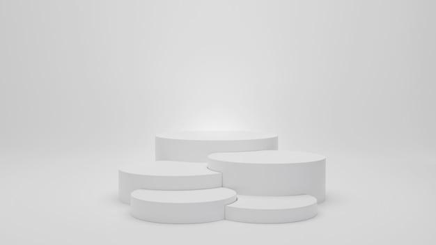 Cinco pódios de cilindro em branco em fundo cinza branco com renderização 3d de reflexos e sombras para exibição de itens de design de produtos