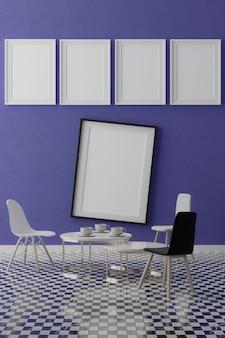 Cinco quadros brancos verticais na parede azul