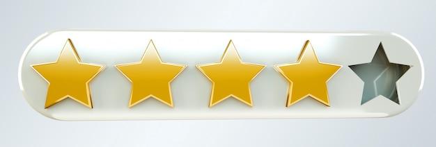 Cinco ranking de ouro digital estrelas renderização em 3d