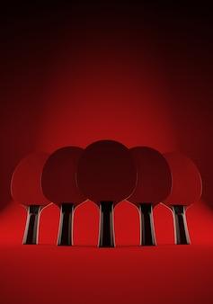 Cinco raquetes para jogar tênis de mesa ou ping-pong em fundo vermelho. ilustração 3d com espaço. conceito de equipe.