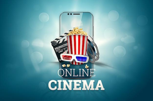 Cinema, atributos de cinema, cinemas, filmes, visualização online, pipoca e óculos.