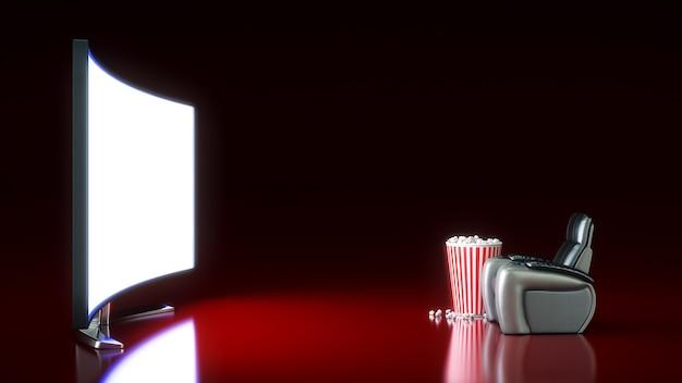 Cinema com renderização 3d de tela em branco