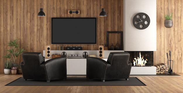 Cinema em casa em estilo rústico