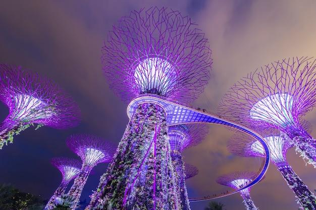 Cingapura - 15 de março: gardens by the bay ao entardecer em 15 de março de 2015 em cingapura. gardens by the bay foi coroado como edifício mundial do ano Foto Premium