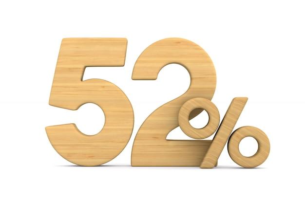 Cinqüenta e dois por cento em fundo branco.