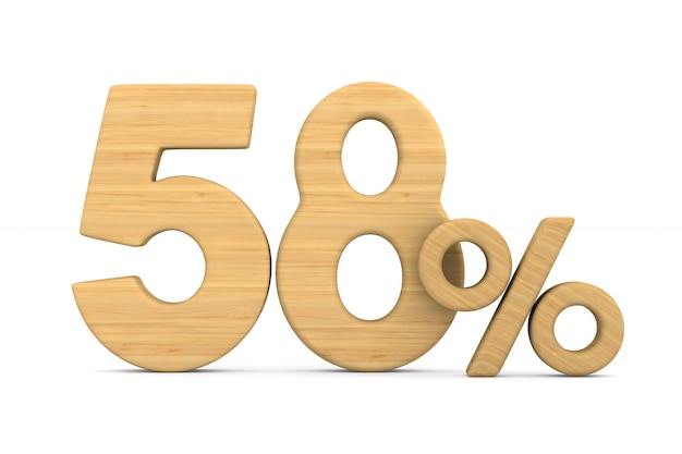 Cinqüenta e oito por cento em fundo branco.