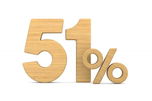 Cinqüenta e um por cento em fundo branco.
