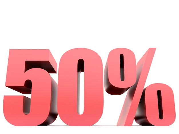 Cinquenta por cento 50% símbolo. renderização 3d