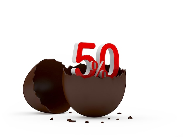 Cinqüenta por cento assina em uma casca de ovo quebrada de chocolate
