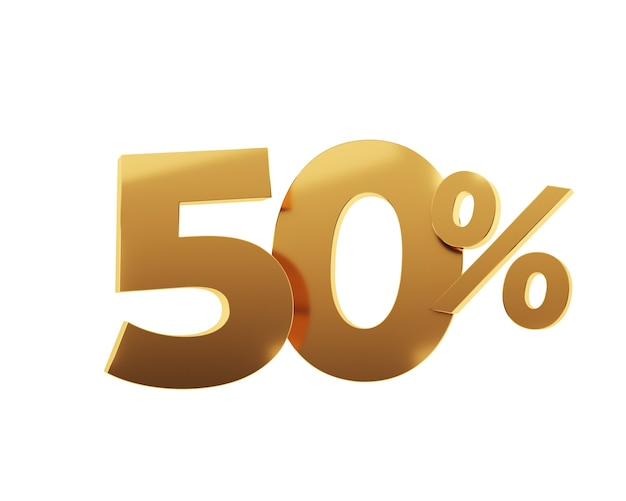 Cinquenta por cento dourado sobre fundo branco. ilustração 3d render.