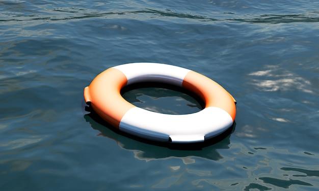 Cinto salva-vidas em fundo branco - renderização 3d de alta qualidade