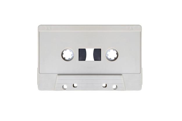 Cinza retro mock up fita cassete isolada no fundo branco com traçado de recorte