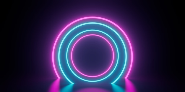 Círculo abstrato anel luz de neon futurista cyberpunk 3d render