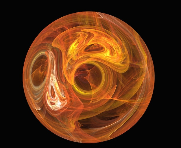 Círculo abstrato fractal amarelo e vermelho no preto