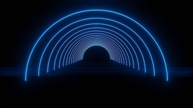 Círculo abstrato túnel de néon com reflexão círculos laser de néon azul com reflexão resumo