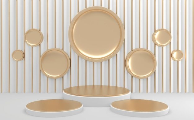 Círculo branco dourado geométrico mock up vazio pódio renderização 3d