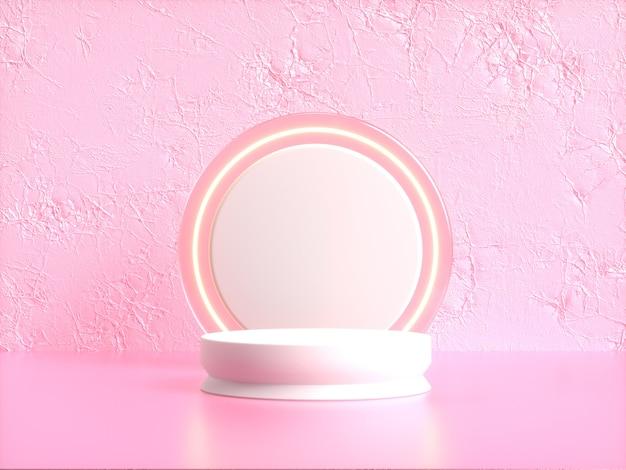 Círculo branco em branco pódio renderização 3d cena rosa