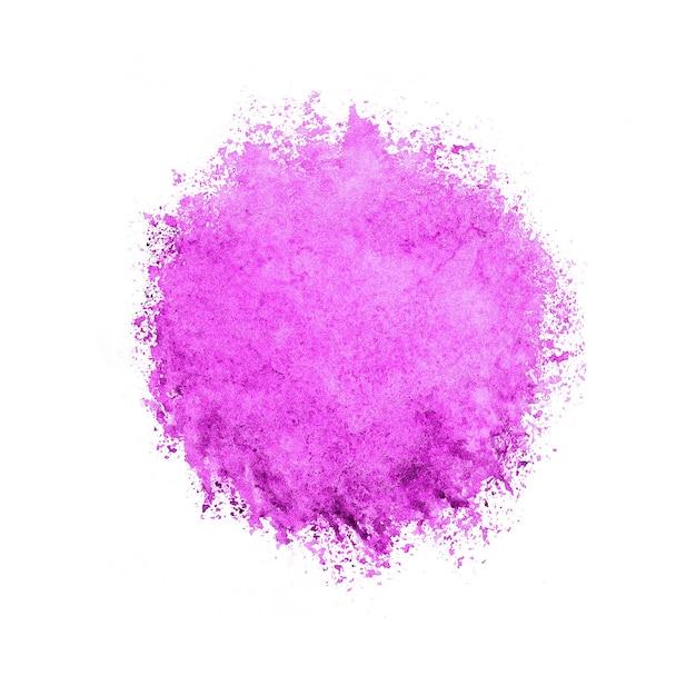 Círculo colorido em aquarela, gota rosa em branco